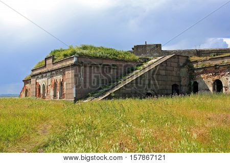 Kronstadt Russia - 10 July 2016: Fort Nr.3 Graf Milutin. Marine fortification construction for protection of Saint Petersburg from attack by naval forces. Built in 1855-1856 years