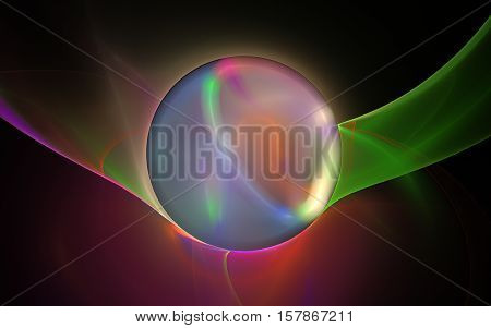 abstract illustration rainbow colorful balloon with a yellow glow around and inside the orange silhouette with green and pink lines around and a red spot at the bottom on a black background.