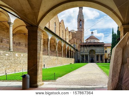 Courtyard Of The Basilica Di Santa Croce In Florence, Italy