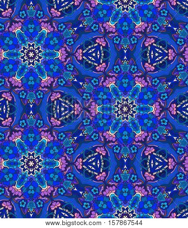 Blue seamless abstract pattern with flowers. Vector background.