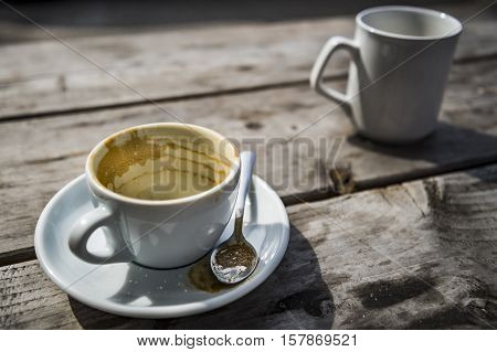 empty coffee cup on wooden table on brown background