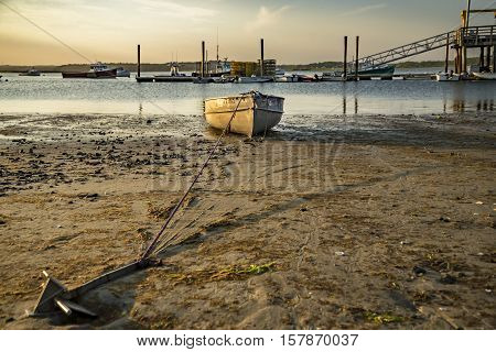 Boat resting in a nice beach in Maine, USA