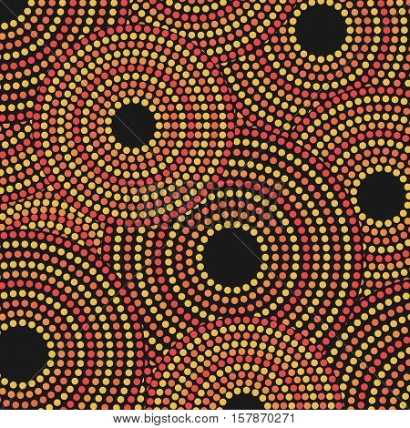 Vector Aboriginal Dotted Circles Pattern Background Illustration