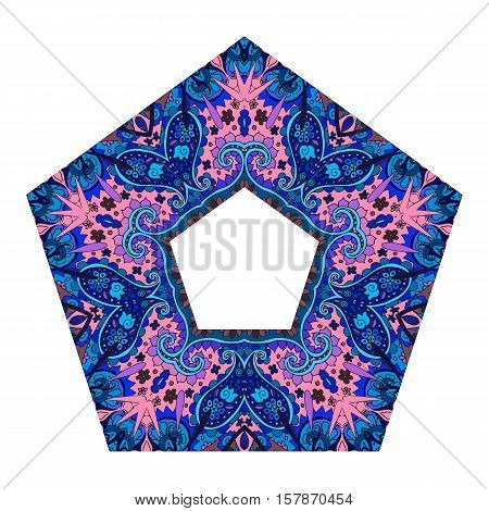 Pentagonal vintage frame with pink star isolated on a white background.