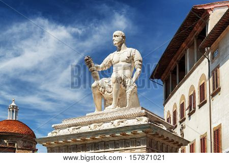The Statue Of Giovanni Dalle Bande Nere In Florence, Italy