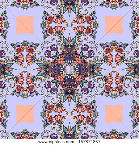 Detailed floral seamless pattern -1 . Vector background. Beautiful bandana print. Lovely tablecloth.