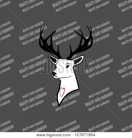 deer head with antlers. one young. seamless texture . pattern and silhouette. For all who love wildlife. Isolate .