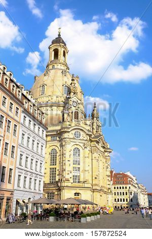 View on the famous Cathedral the Dresden Frauenkirche - Dresden Germany - 11.09.2016.
