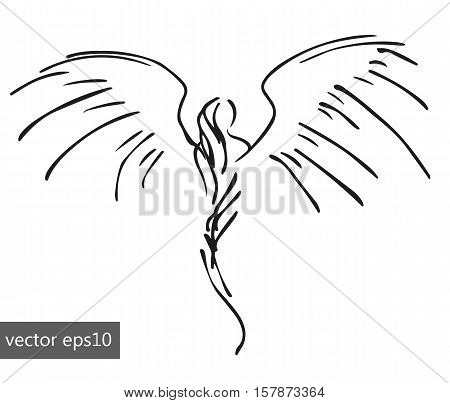 hand-drawn pinstriping angel, sketch simple vector illustration