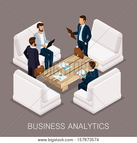 Trendy isometrics business operation a business center an analyst modern furnishings high-quality work. Create business ideas planning. Vector illustration.