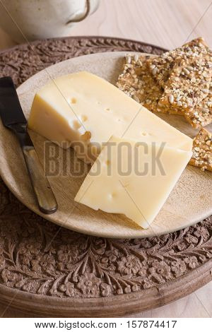 Jarlsberg a mild creamy Norwegian cheese similar to Swiss Emmental