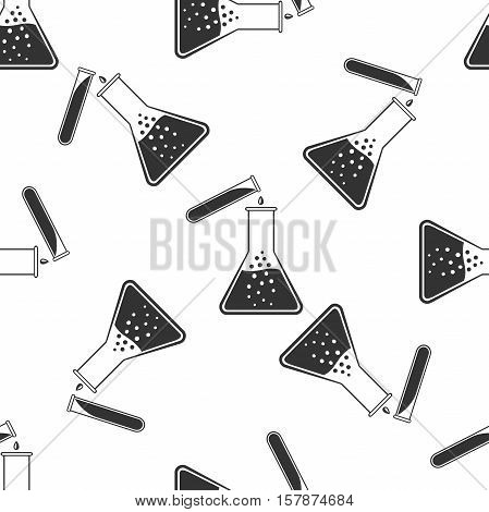 Test tube and flask - chemical laboratory test icon seamless pattern on white background. Vector Illustration