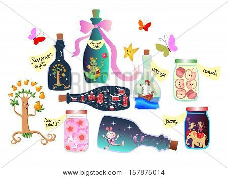 Magic Pantry. Fairy tale. Cute cartoon allegorical illustration. Bottles and cans of jam, pleasant memories and a real adventure. Inner child is in the form of a fun dragon in a bottle.