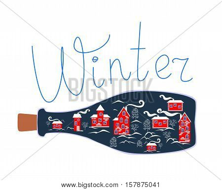 Cute cartoon allegorical illustration. Winter town in glass bottle.