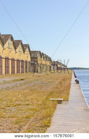 Warehouses in Porto Alegre port and Guaiba lake