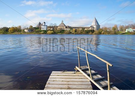 View of the Old Ladoga fortress from the right river bank Volkhov in the October afternoon. Leningrad region, Russia