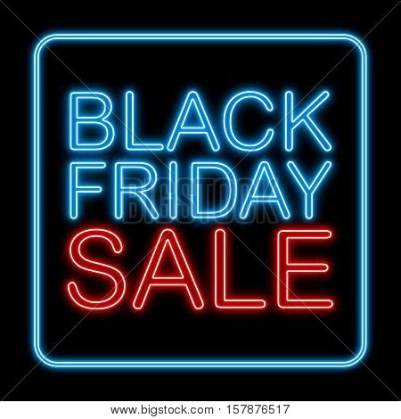 Black Friday Sale With Neon Style On Black Background