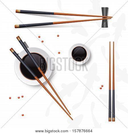 Sushi set. Chopsticks and soy sauce isolated on white. Vector illustration.