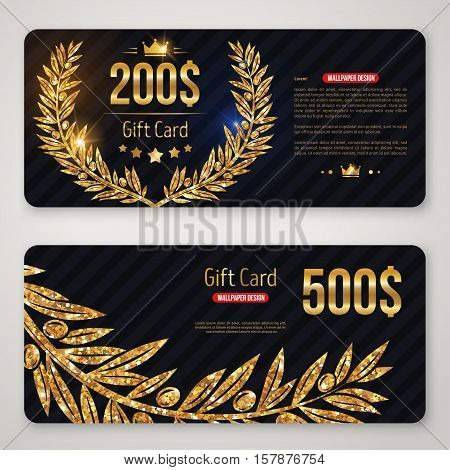Gift card layout template with gold laurel wreath and olive branch. Shopping certificate, glittering premium vip design. Vector illustration.