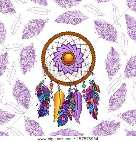 Hand drawn Native American Indian talisman colored dreamcatcher with feathers and moon. Vector hipster seamless pattern. Isolated on white background. Ethnic design, boho chic, tribal symbol.
