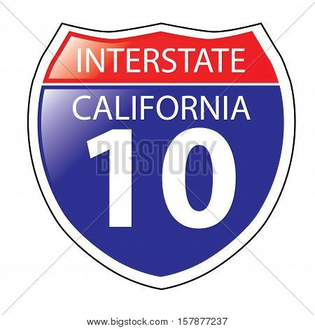 Layered artwork of California I-10 Interstate Sign