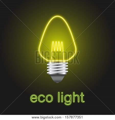 Eco Lightbulb With Neon Style On Background