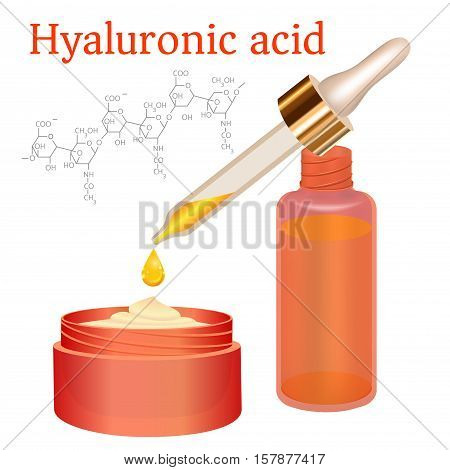 Hyaluronic Acid Cream and Emulsion with Drop. Collagen Serum Skin Care Cosmetic. Chemical Formula. red Bottles on White Background. Vector illustration. Medicine Banner, Poster, Cosmetics Advertising