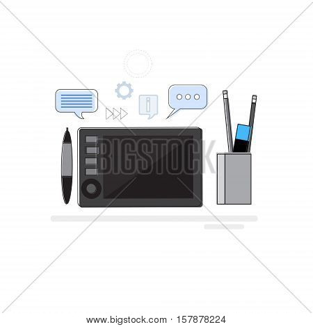Design Idea Graphic Designer Drawing Icon Web Banner Thin Line Vector Illustration