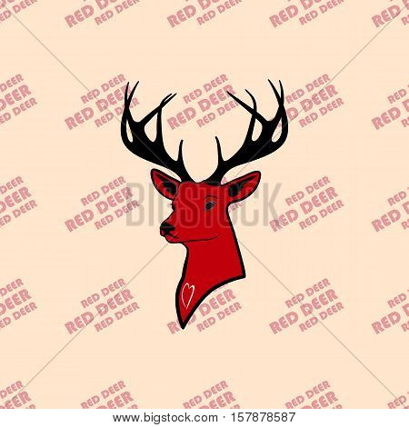 head of red deer with antlers. seamless texture. pattern and silhouette. For all who love wildlife. isolate on a yellow background.