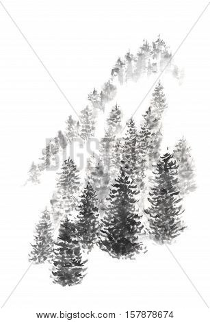 Japanese style sumi-e pine hill ink painting. Great for greeting cards or texture design.