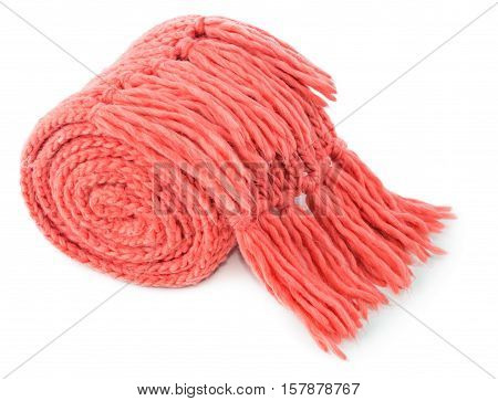Rolled red textile scarf isolated on white background