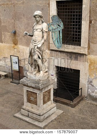 ROME, ITALY - JUNE 12, 2015: Rome - The Mausoleum of Hadrian (Castel of Sant' Angelo). The original marble statue of the angel by Raffaello da Montelupo.