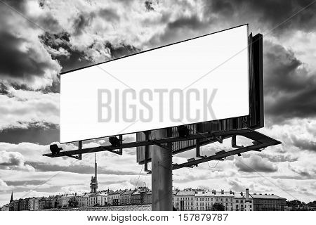 Big Board With City Panorama And Sky With Clouds. Black and white.