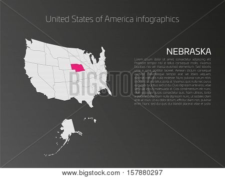 United States of America, aka USA or US, map infographics template. 3D perspective dark theme with pink highlighted Nebraska, state name and text area on the left side.