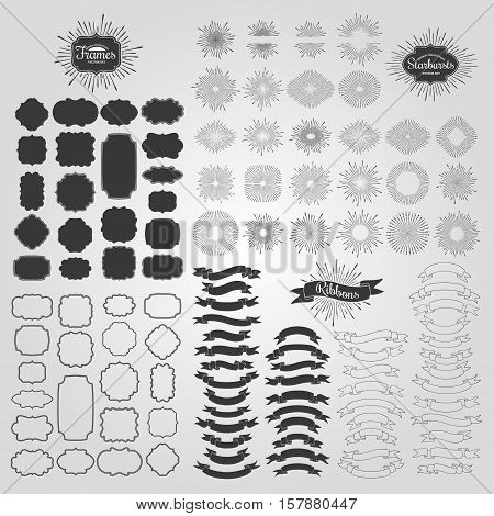 Starbursts, frames and ribbons. Vector design elements for vintage logos.