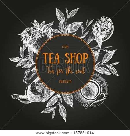 Vector tea shop illustration. Tea circle frame illustration. Menu label with teapot cup tea leaves and teaspoon. Linear graphic.