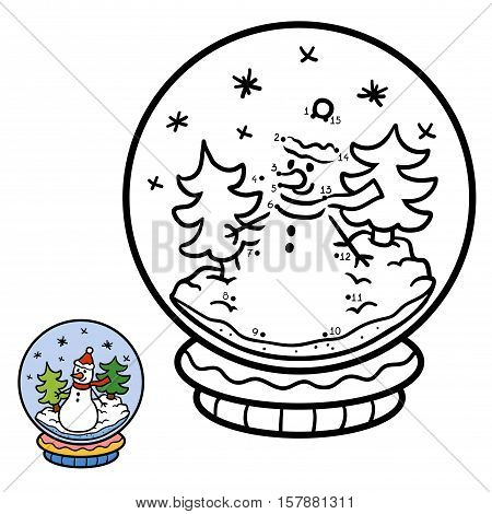 Numbers game, education dot to dot game for children, winter Snowball with snowman