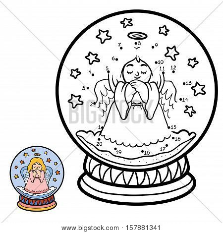 Numbers game, education dot to dot game for children, winter Snowball with angel