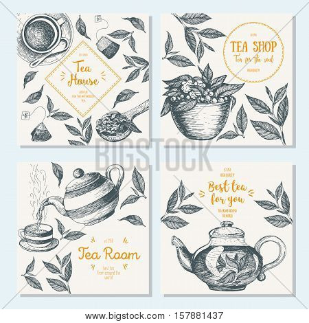 Banner set for tea shop. Teahouse square banner collection. Linear graphic