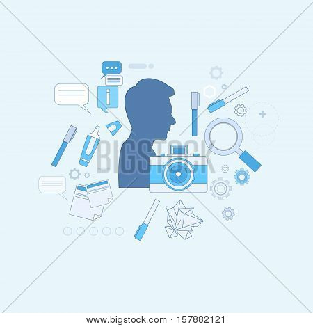 Design Idea Graphic Designer Drawing Icon Web Banner Vector Illustration