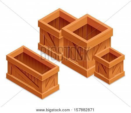 wooden box isometric realistic vector illustration storage isolated container
