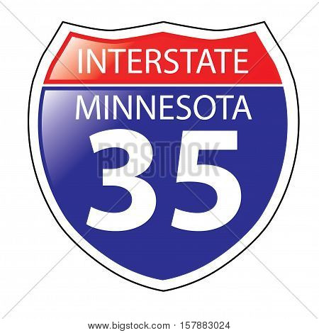 Layered artwork of Minnesota I-35 Interstate Sign