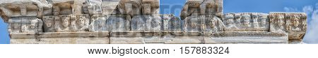 The carved medusa heads at the top of the Temple of Apollo situated in the Turkish town of Side.