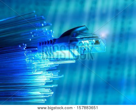 network cables closeup with fiber background