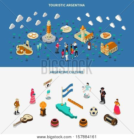 Argentina culture and attractions for travelers 2 isometric banners set with historic obelisk monument isolated vector illustration