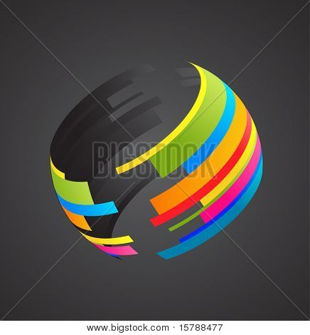 Colored globe icon on black background