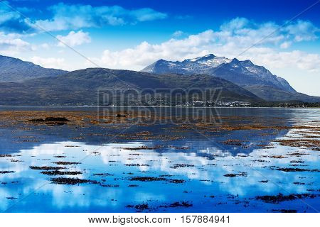 Norway fjord mountains ocean landscape background hd