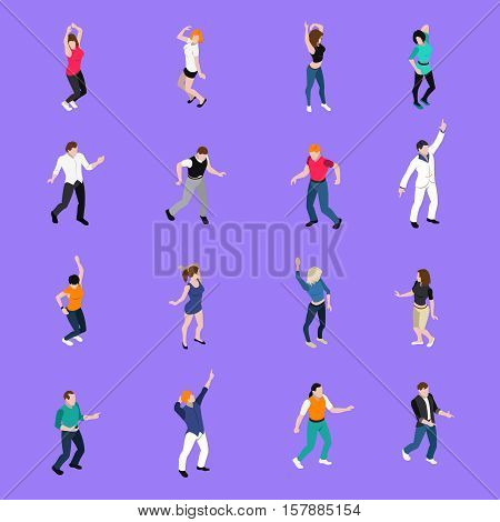 Moving to the beat in dance club people   isometric icons collection with purple background isolated vector illustration