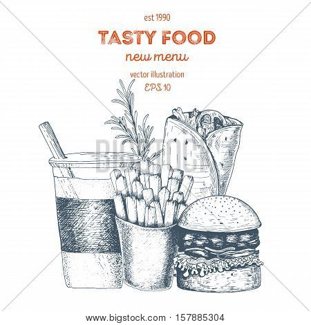 Lunch with french fries burger hot roll and beverage. Fast food junk food. Linear graphic Vintage vector Illustration