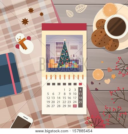 Festive Calendar Decorated Workspace Top Angle View Happy New Year Merry Christmas Greeting Card Flat Vector Illustration